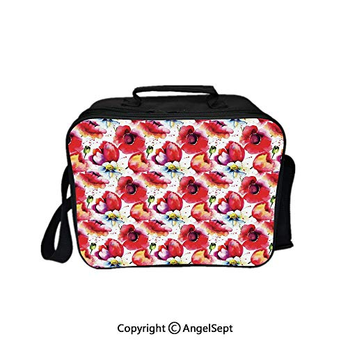 (Hot Sale Lunch Container,Colorful Combined Mixed Poppy Flower Petals Pattern Spring Garden Theme Paint Effect Blue Red 8.3inch,Lunch Bag Large Cooler Tote Bag For Men, Women)