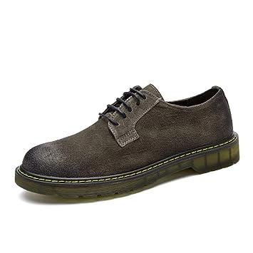 DADIJIER Botas de Trabajo para Hombre Botas Bajas Superiores Botines de Ante con Cordones Zapatos Cortos Oxfords Resbalón en Punta Redonda de Cuero ...