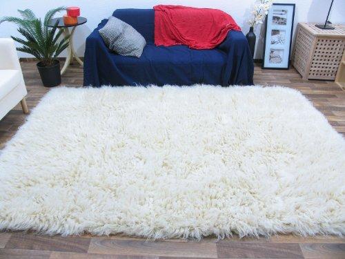 Flokati Teppich Qualität 3000 natur Kult Shaggy Teppich Hochflor Langflor 100% Schurwolle, Größe: 70x140 cm