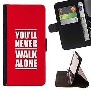 BullDog Case - FOR/Apple Iphone 6 / - / NEVER WALK ALONE /- Monedero de cuero de la PU Llevar cubierta de la caja con el ID Credit Card Slots Flip funda de cuer