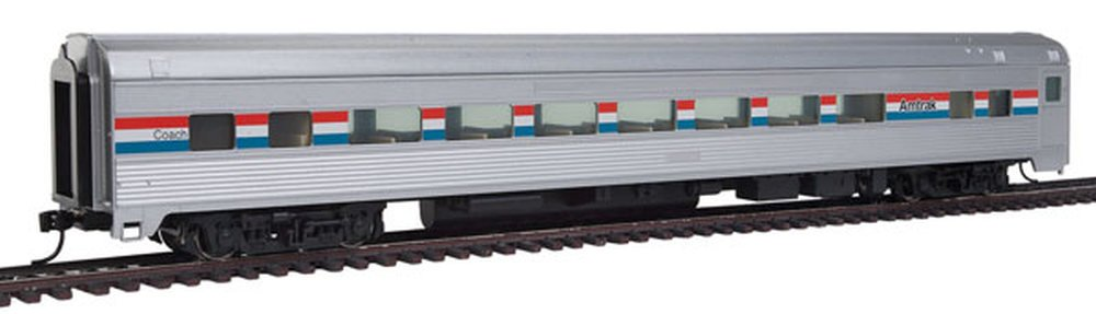 Amtrak Phase III; silver, Equal red, white, blue Stripes Ready to Run 85 Budd Large-Window Coach