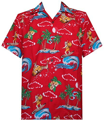 Hawaiian Shirt 41 Mens Christmas Santa Claus Party Aloha Holiday Red L ()