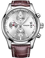 SONGDU Mens Date Multifunction Quartz Wrist Watch with Brown Calfskin Leather Band