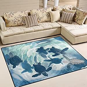 Amazon Com Naanle Ocean Sea Life Area Rug 5 X7 Cute Sea Turtle
