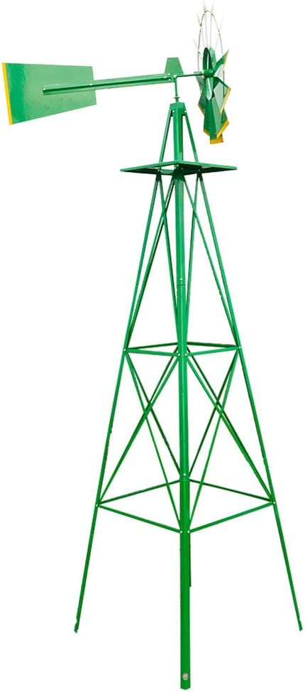 Takefuns 8FT Weather Resistant Yard Garden Windmill Green