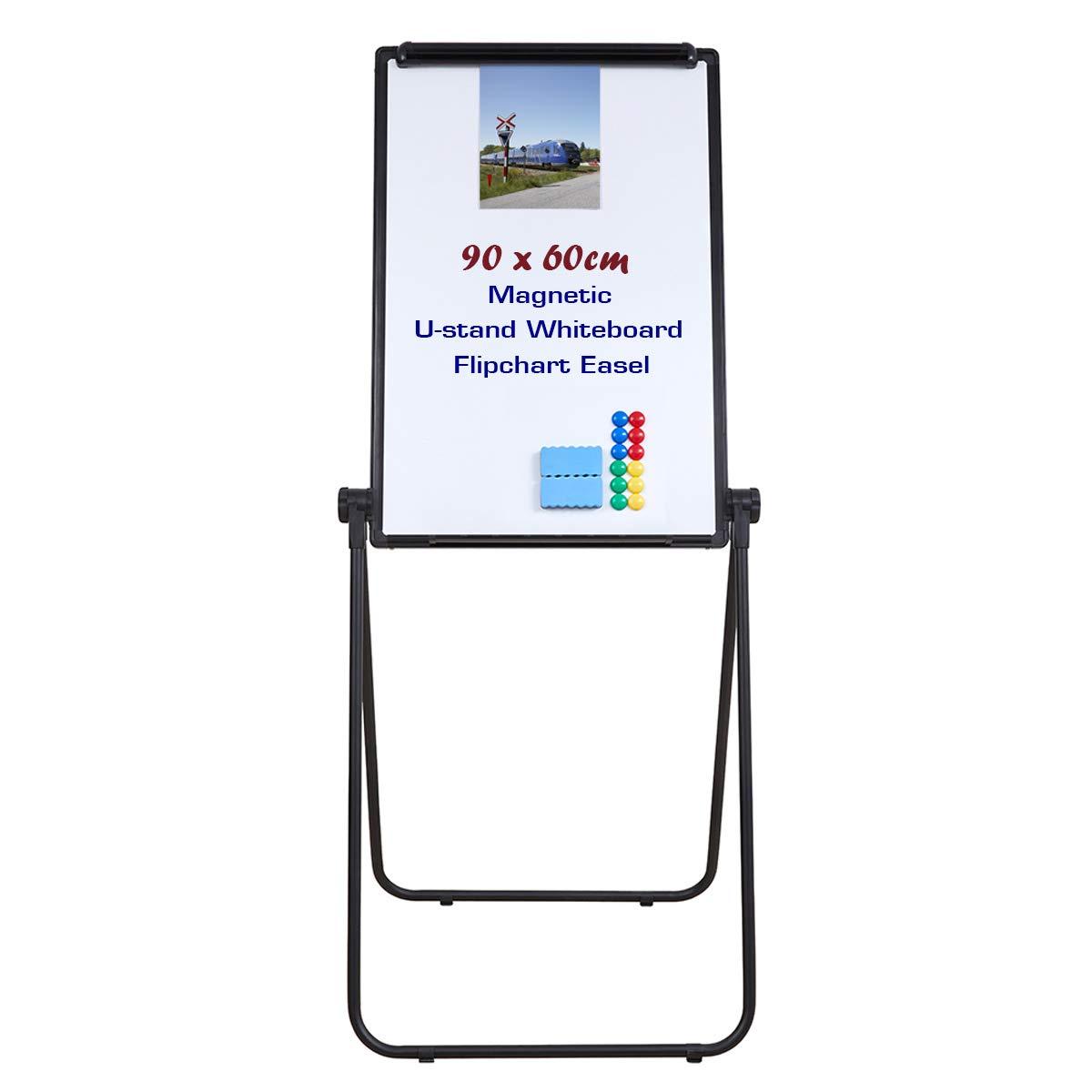 WELMORS magnétique pour tableau blanc Tableaux magnétiques tableau à feuilles effaçables Chevalet de conférence paperboard et accessoires (plateau pour stylos, 12 aimants et 2 gommes) 90x60cm noir