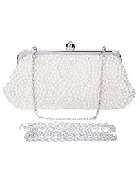Clocolor Pearl Clutch Purse For Wedding Beaded Crystal Handbag