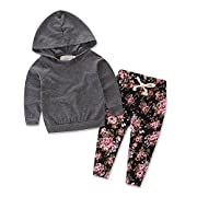 Baby Girls Floral Hoodie+ Floral Pant Set Leggings 2 Piece Outfits (6-12 Months, Grey)