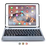 Apple iPad Pro 9.7 / iPad Air 2 keyboard case, [NEW] COOPER KAI SKEL A1 Backlit Aluminum Bluetooth Wireless Keyboard Laptop Macbook Clamshell Case Cover with Rechargeable Battery Power Bank (Silver)