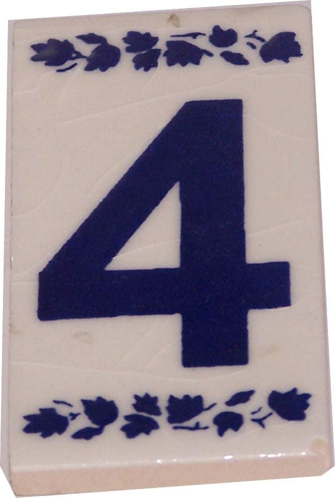 3x1.5 Inches Asfour Outlet Trademark Numeral Four painted tile from Jerusalem