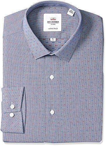 Ben Sherman Men's Slim Fit Puppytooth Dress Shirt, Navy, 16