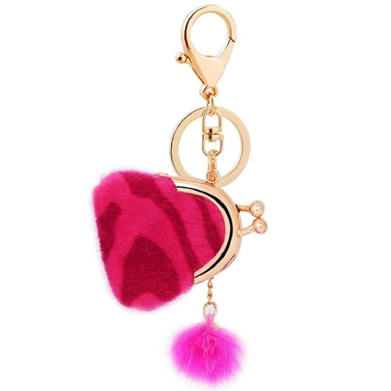 Gilroy Artificial Rabbit Fur Leopard Mini Bag Ball Keychain Car Key Rings Pendant