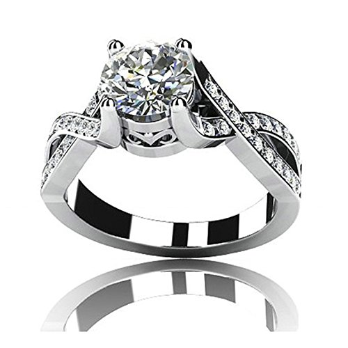 (AMDXD Jewelry Custom Ring for Women Sterling Silver Promise Ring Zirconia Crystal Cross Round Size 9.5)