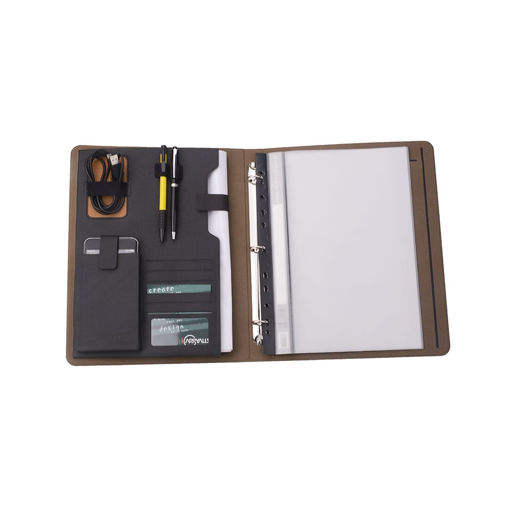 iCarryAlls 3-Ring Binder Portfolio with 3/4 inch Round Ring,Holds A4 Transparent File Bags,Black