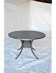 Nassau Outdoor Patio Round Dining Table Dia 60 X H29 Dark Bronze Cast Aluminum