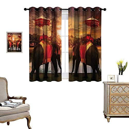 (Asian Blackout Window Curtain Animals Dressing Traditional Costumes Standing in Front of Pagoda Patience Symbol Print Customized Curtains W55 x L72)