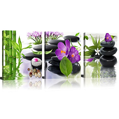 3 Panel Modern Spa Bamboo Zen Stone Purple Flowers Photograph Canvas Painting for Home Wall Decorative by ModeArt