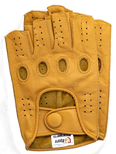 Riparo Women Genuine Leather Reverse Stitched Half-Finger Fingerless Driving Motorcycle Gloves (7, - Women Gloves Motorcycle Leather