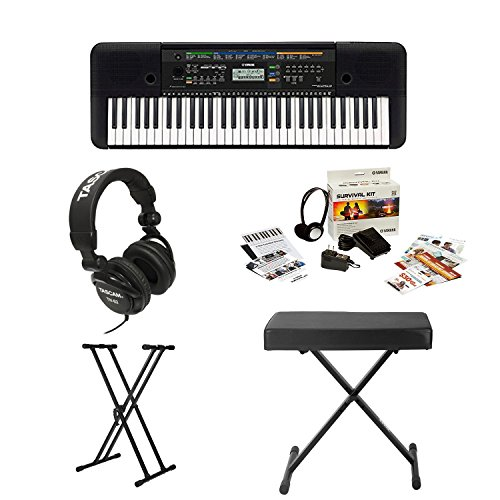 Yamaha PSRE253 61-Key Portable Keyboard Bundle with Knox ...