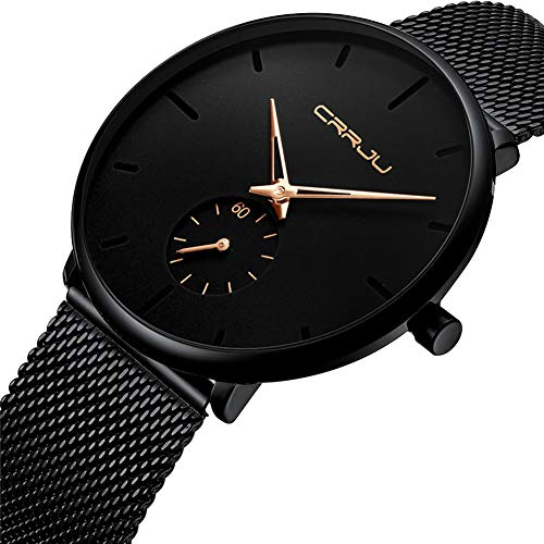 Unisex Minimalist Quartz Analog Men's Watch Fashion Casual Stainless Steel Mesh Band Gold