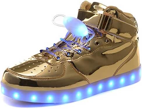 HOFISH Unisex LED High Top Light Up Shoes for Mens Womens Girls Boys Flashing Sneakers with 11 Lighting Patterns With Free LED shoeslace