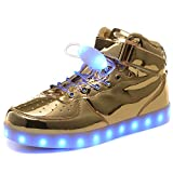 HOFISH Funky Light Up Shoes High Top Dance Sneakers for Women Men Gold