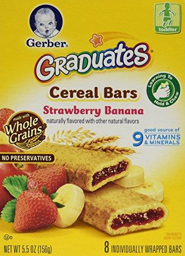 Gerber Graduates Cereal Bars STRAWBERRY BANANA - 5.5oz. (Pack of 4) by Gerber
