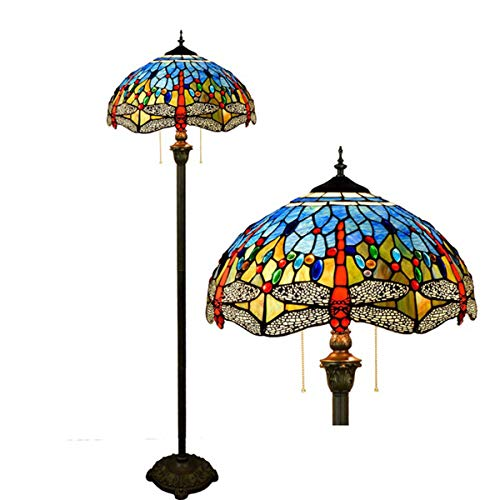 GDLight Tiffany Style Dragonfly Reading Floor Lamp Mediterranean Blue Stained Glass Floor Lamp with Pull Chain for Bedroom Living Room, 63 Inch Tall