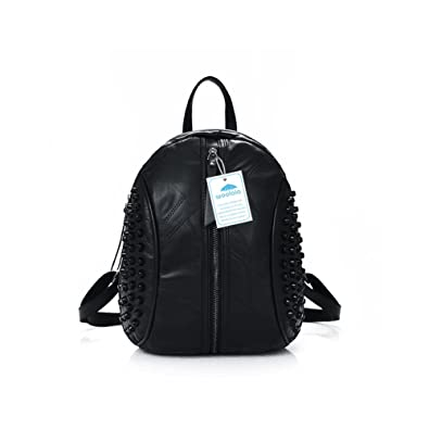 0c9c289b16a2 Yoome Rivet Studded Zip Mid-Size Backpack Large Capacity Women Shoulder Bag  for Traveling Black  Amazon.co.uk  Shoes   Bags
