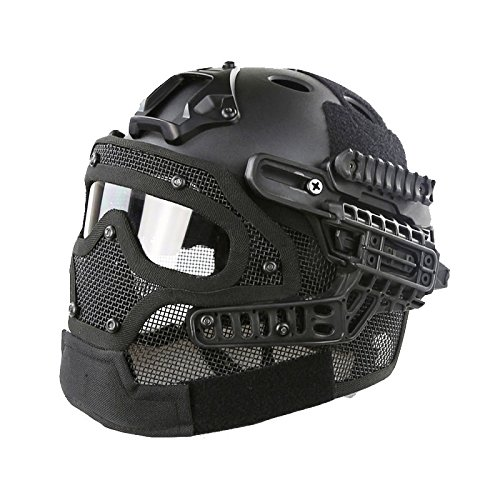 A&N Airsoft Tactical Helmet Mask With Goggles PJ Style G4 System Protective Gear In Black by A&N