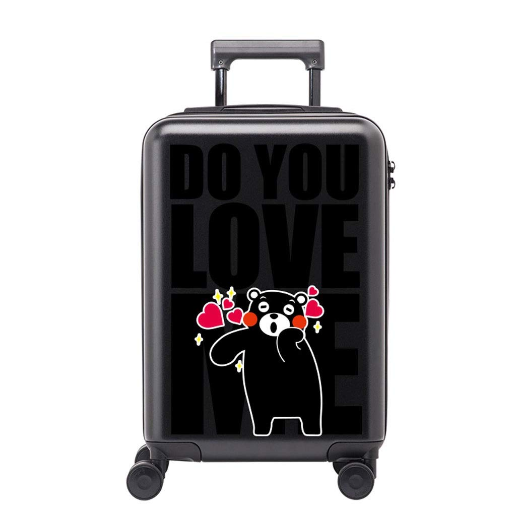 FRF トロリーケース- 学生のかわいい漫画のトロリースーツケース、人および女性のための普遍的な車輪の荷物ロック箱 (色 : Black D, サイズ さいず : 20in) 20in Black D B07QQNBQGR