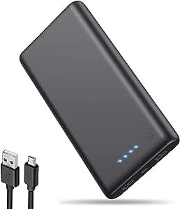 iPosible Batería Externa 25800mAh [Versión Actualizada] Alta Capacidad New Dual Puertos Cargador Portátil Móvil Power Bank Carga Alta Velocidad para Smartphones Dispositivos Tabletas - Negro Matte