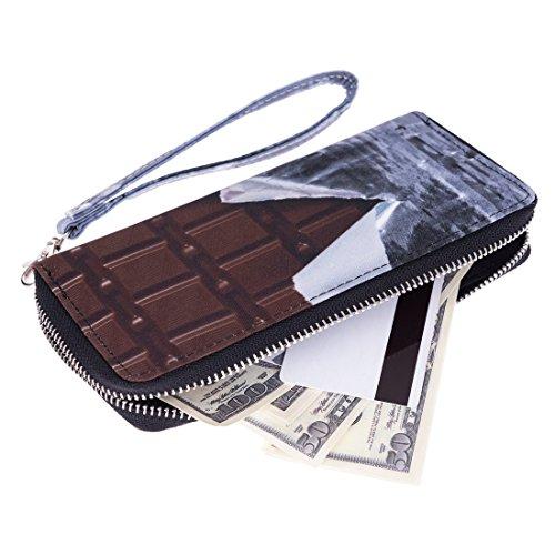 Portafoglio moda per Holder Uomo Donna Cash cerniera carta della borsa Chocolate [050]