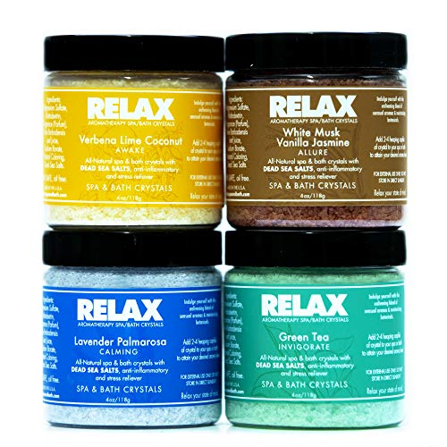 Relax Escape Best Aromatherapy Bath Salts, Sample Pack of 4, 4 Ounce Bottles, Soft Skin and Healing, Crystals Infused with Vitamins and Minerals, Safe for Spa, Bath and - Salts Scented Scents Bath