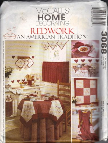 Redwork Kitchen - Kitchen Accessories Redwork - an American Tradition McCalls Home Decorating pattern 3068