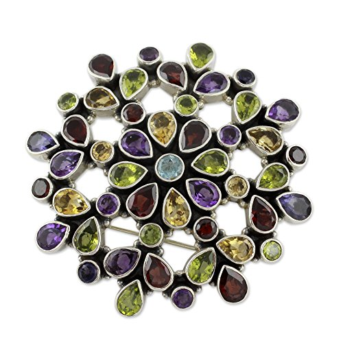 NOVICA Multi-Gem Peridot .925 Sterling Silver Brooch 'Summer Blossom' by NOVICA