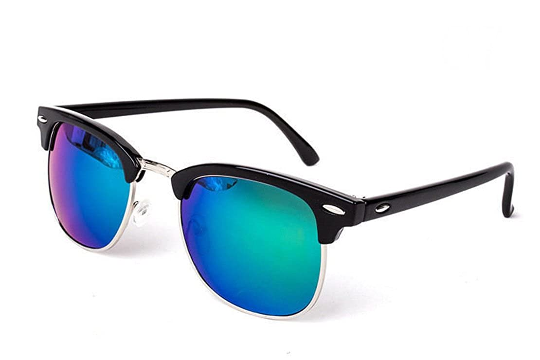 100/% UVA /& UVB Protection Wayfarer Style Sunglasses Unisex Trendy Summer Sunglasses Mirrored Green