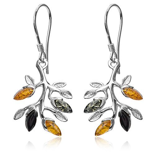 Multicolor Amber Sterling Silver Branch Dangling Fishhook Earrings