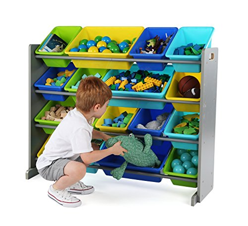 51jxHCeyPtL - Tot Tutors WO498 Elements Collection Wood Toy Storage Organizer, X-Large, Grey/Blue/Green/Yellow