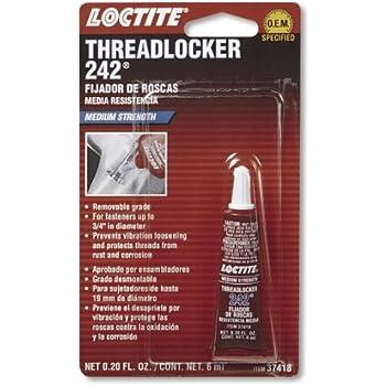 Loctite 37418 242 Blue Medium Strength Threadlocker Tube, 6-milliliter
