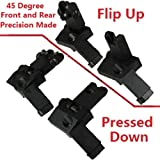AR15 AR 15 Front and Rear flip up 45 Degree Rapid Transition BUIS Backup Iron Sight by Field Sport