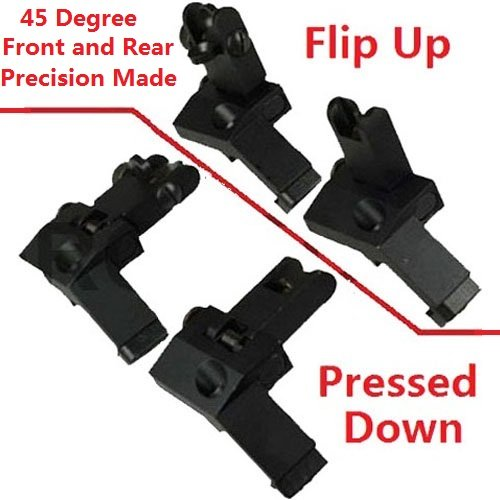 AR15 AR 15 Front and Rear flip up 45 Degree Rapid Transition BUIS Backup Iron Sight by Field Sport by FIELDSPORT