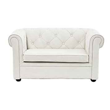 Miliboo - Sofá BABY CHESTERFIELD 2 plazas de color blanco