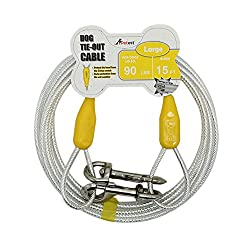 Petest Reflective Tie-Out Cable for Dogs Up tp 10/35/60/90/125/250 Pounds, 10ft 15ft 20ft 25ft 30ft 40ft Length Available