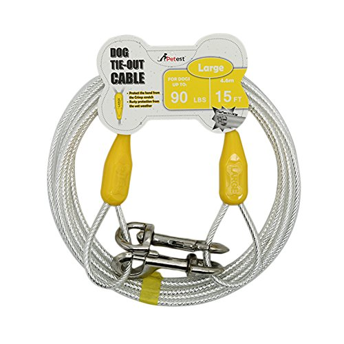 Petest 15ft Reflective Tie-Out Cable for Large Dogs Up to 90 Pounds