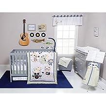 6 Piece Baby Blue White Grey Safari Rock Band Crib Bedding Set, Newborn Animal Themed Nursery Bed Set Infant Child Drums Guitar Music Trumpet Monkey Lion Jungle Striped Border Blanket Quilt, Cotton