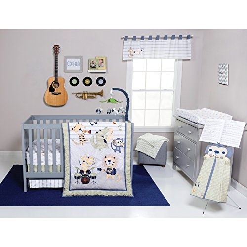 6 Piece Baby Blue White Grey Safari Rock Band Crib Bedding Set, Newborn Animal Themed Nursery Bed Set Infant Child Drums Guitar Music Trumpet Monkey Lion Jungle Striped Border Blanket Quilt, Cotton - Guitar Baby Bedding