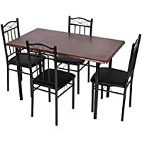 5-Piece Dining Room Set, Kitchen Rectangle MDF Table Metal Legs with 4 Chairs