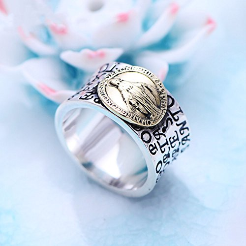 MetJakt Virgin Mary Solid 925 Sterling Ring with Scripture for Unisex Anniversary Religious Fine Jewelry (7) by MetJakt (Image #3)