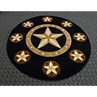 Champion Rugs Texas Western Star Rustic Cowboy Decor Novelty Area Rug Black (5 Feet X 5 Feet Round)